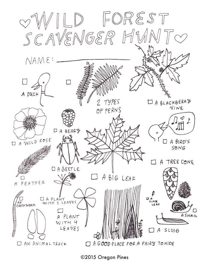 Wild Forest Scavenger Hunt Oregon Pines